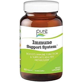 Pure Essence Immune Cellular Support System with Maitake Reishi Shitake Mushroom Spirulina Colostrum Fucoidan and More - 60 Tablets