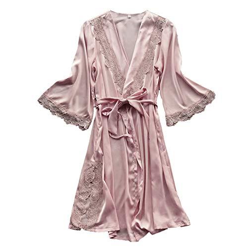 Proumy Kimono Japones de Seda Vestido de Dormir Rosa Estampado de Flores Pijama Mujer Verano Conjutno Una Pieza Sexy Bata de Encaje Camisola Floral Ropa Interior Lencería de Cama Camisola Cuello V