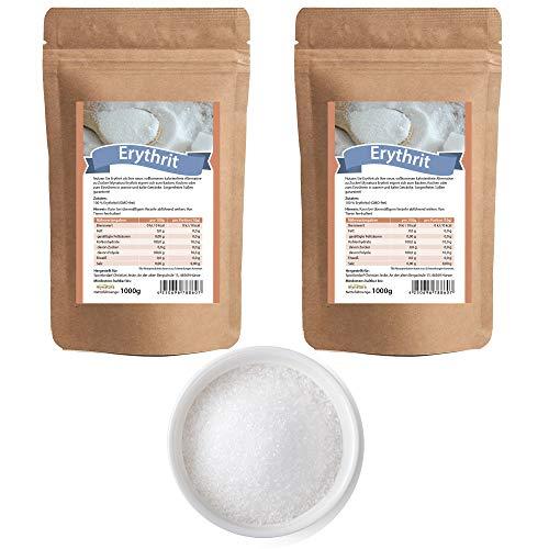 Mynatura Erythrit 2x 1000g I Zuckerersatz I Erythritol I zum Backen und Kochen I Kalorienfreies Süßungsmittel I Kaffee I Zahnfreundlich I ohne Gentechnik I (2er Pack (2x 1000g))