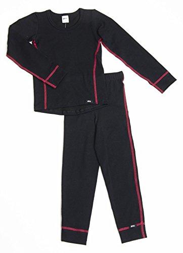 PLEAS PLEAS Thermo Unterwäsche Set für Kinder - Mädchen Thermo Funktionswäsche Skiunterwäsche Set (Hemd + Hose), Schwarz, 128