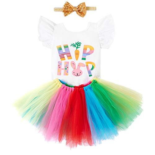 2 Piezas de Trajes Felices de Pascua para niñas con Diadema, Mameluco de Conejo con Mangas voladoras y Faldas de tutú de arcoíris