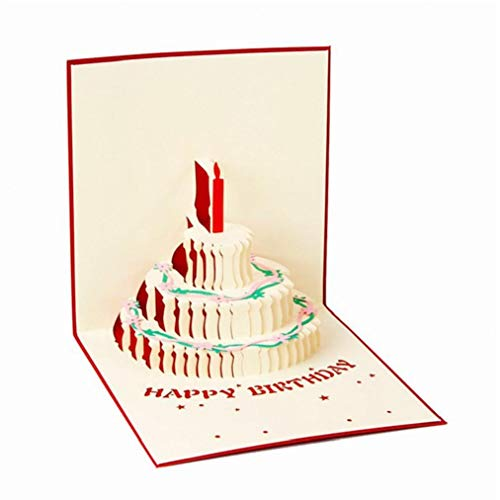 Geburtstags-geschenk-kuchen-karte Pop Up 3d Grußkarten Mit Umschlag Postkarte