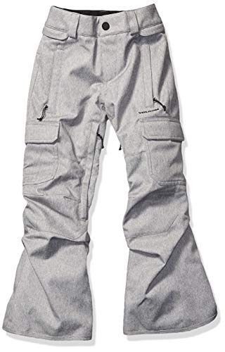 Volcom Boys' Big Cargo Insulated 2 Layer Shell Snow Pant, Heather Grey, Large