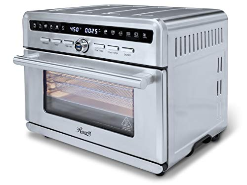 Rosewill Air Fryer Convection Toaster Oven, Stainless Steel Exterior, Family Size 26.4 Quart Family Size Capacity, 4 Tray Accessories with Large Transparent Window (RHTO-20001)