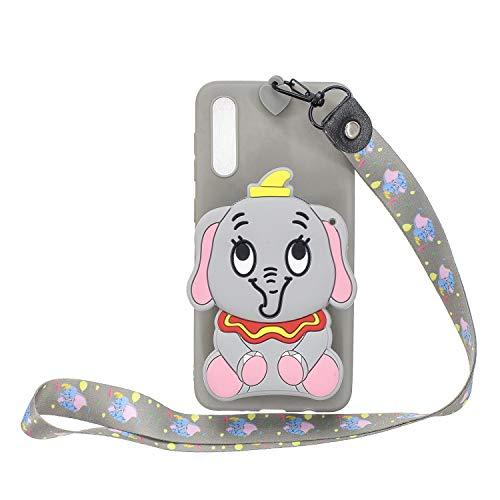 Miagon Silicone Coque pour Huawei P20,3D Mignon Portefeuille Stockage Sac Désign Cover avec Collier Lanyard Sangle Chaîne,Gris l'éléphant