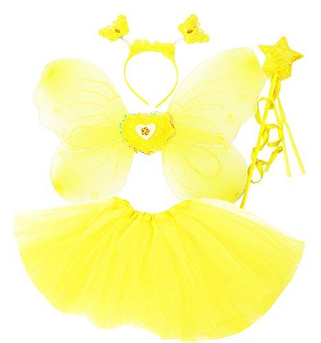 Fun Play Costume da Fata per Bimba - Vestito in Maschera per Bambine - Ali da Farfalla, Bacchetta Magica e Fascia per Capelli - Vestito con Ali da Farfalla per Bambine di 3-8 Anni. Colore Rosa