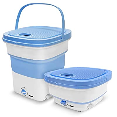 Portable Mini Washing Machine Lightweight Collapsible Bucket - Perfect for Camping, Travelling, Apartment, Dorm USA Brand - Pure Clean PUCWM33.5