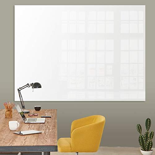 Glasmagnettafel in reinem Weiß | rahmenloses Magnetboard | Whiteboard aus TÜV-zertifiziertem Glas magnetisch & beschreibbar | einfache Montage mit Bohrschablone | 7 Größen (90x120 cm)