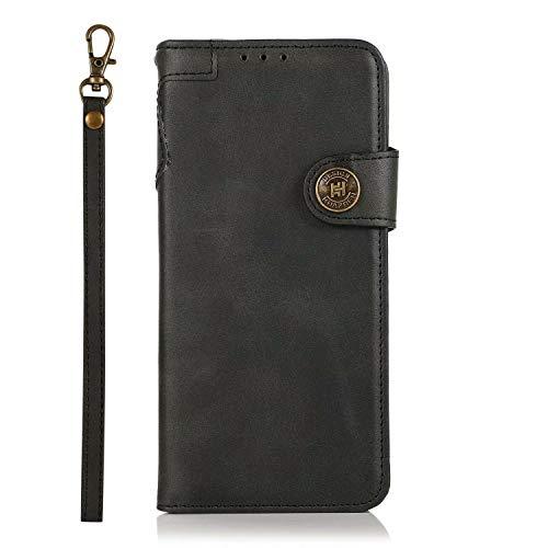 FullProtecter Handykette kompatibel mit Nokia 5.3 Handyhülle,Lederhülle Klappbar, stoßfest Flipcase,Brieftasche für Nokia 5.3,Schwarz