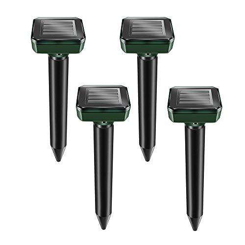 Kcpolre Estacas repelentes de topos, paquete de 4 unidades, repelente solar de topos, repelente de topos sónicos, removedor de topos con energía solar para topos, serpientes, topos, topos y otros (4)