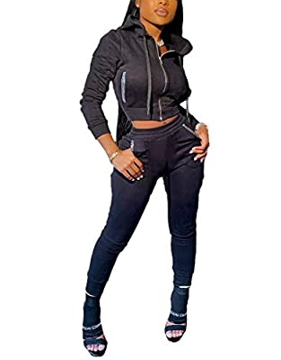Womens 2 Pieces Outfit Long Sleeve Zipper Hooded Top Skinny Pants Bodycon Sweatsuit Active Tracksuit Set