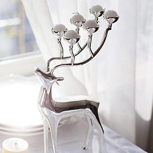 WMYATING Reno de Navidad Tenedor de Vela de tealight, Escultura de Ciervos, Ornamento de Animales de Metal para Bodas Fiestas Decoración de Vacaciones de Plata 17x30cm