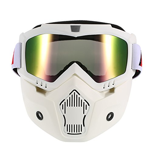 KKmoon Mortorcycle Mask Detachable Goggles and Mouth Filter for Open Face Helmet Motocross Ski...