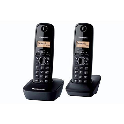Panasonic KX-TG1612FRH, Telefono Duo cordless DECT senza segreteria, Colore Nero [Importato da Francia]