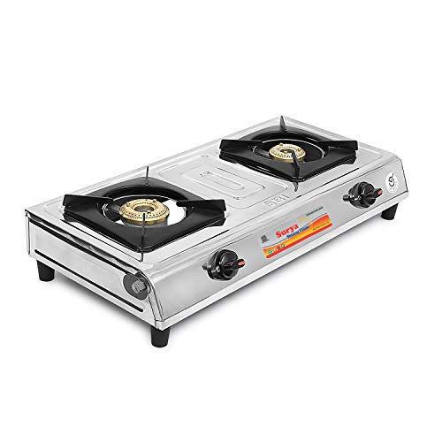 Surya Shining Flame Classic Stainless Steel 2 Burner Gas Stoves (Multicolour)