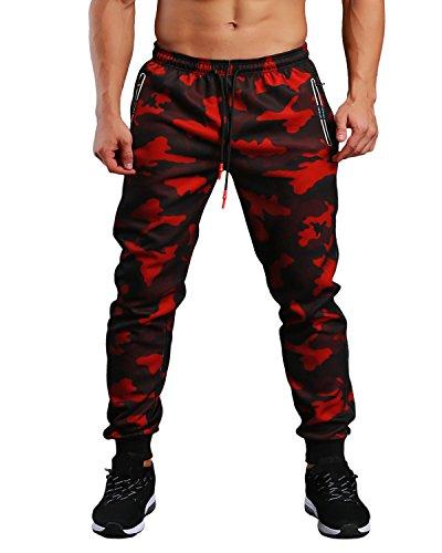 EKLENTSON Mens Camo Sweatpants with Zipper Pockets Drawstring Camo Joggers Pants Red