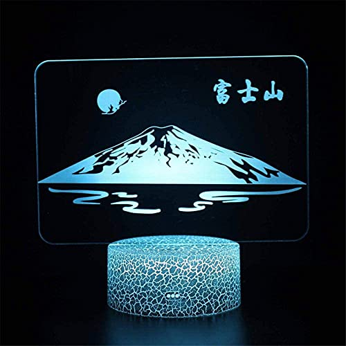 Mount Fuji 3D Illusion Hologram Night Lamp Illusion Lamp with Remote Control 16 Color Changing Xmas Halloween Birthday Gift for Child Baby Girl