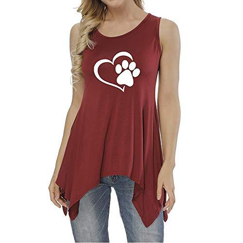 anYanZiBaiH T-Shirt mit ärmellosem Print und langem Saum und rundem Hals