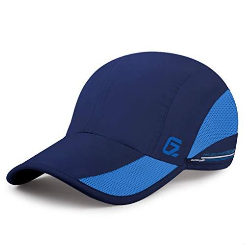 GADIEMKENSD Quick Dry Sports Hat Lightweight Breathable Soft Outdoor Running Cap Baseball Caps for Men (Navy)