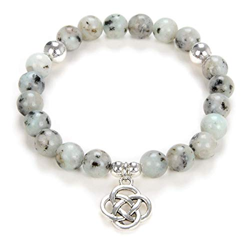 Yoga Beads Mala Bracelet Jewelry with Infinity Knot Celtic Charm for Men or Women (Seasame Jasper)
