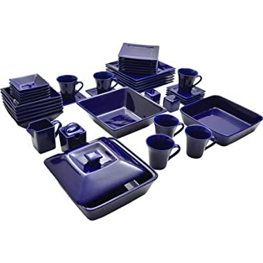 10 Strawberry Street Nova Square Banquet 45-Piece Dinnerware Set (Cobalt)