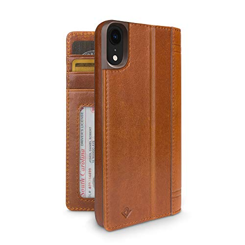 Twaalf Zuid-Journal voor iPhone | Luxe lederen portemonnee Folio Case en Display Stand, iPhone XR, Cognac