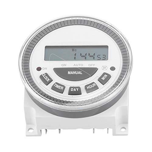 TOPINCN Temporizador De Interruptor Programable Smart Control Digital Plastic Timer Tiempo Relé Interruptor Salida 16A 7 Días Cambio De Ciclo Semanal(220V)