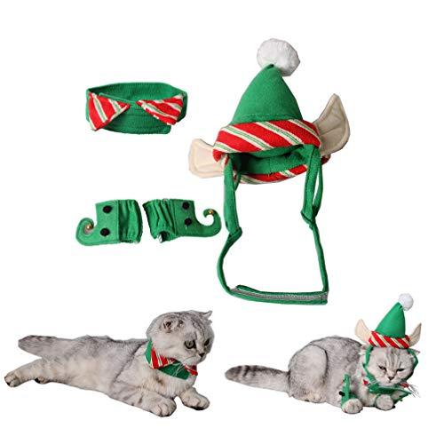 POPETPOP Disfraz de Gato Elfo de 4 Piezas - Disfraz de Gato Lindo de Navidad Ropa de Navidad Traje de Duende Verde...