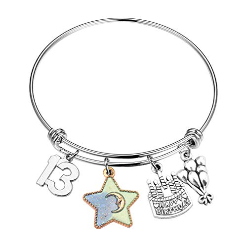 FUSTYLE Birthday Bracelet 12th 13th 16th 18th Birthday Jewelry Gift Inspirational Bracelet Happy Birthday Gift For Daughter Best Friend (13th)