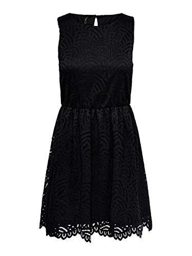 ONLY Damen Kleid ohne Ärmel Spitzen MBlack