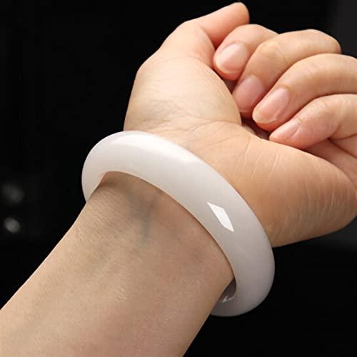 YZDKJ Natürliche weiße Jade Armreif Frauen echte chinesische Jade Stein armreifen handgemachte Armband schmuck zubehör für Freundin Mutter Geschenke (Gem Color : Gray)