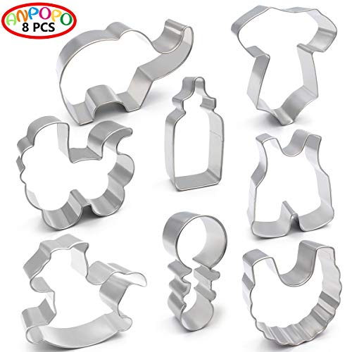 ANPOPO Baby Shower Cookie Cutter Set - 8 Piece - Onesies, Bib, Rattle, Bottle, Baby Carriage, Rocking Horse, Baby Pants and Elephant, Metal Stainless Steel Fondant/Biscuit Cutters