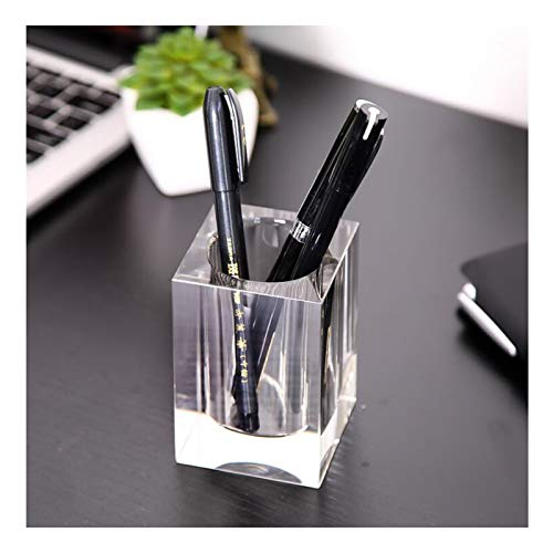 Crystal Glass Pen Holder Desktop Organizer Creative Storage Box Pen Container Home School Office Stationery Supplies (Color : Clear, Size : 5cm)