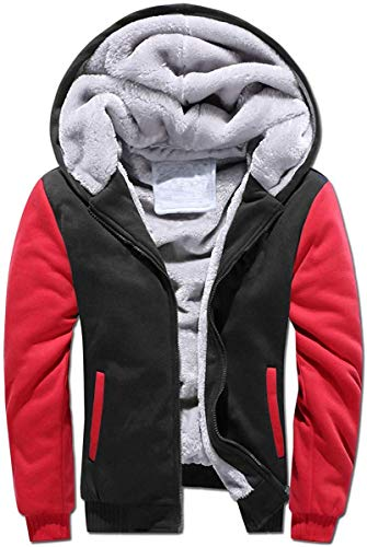 VSUSN Uomo Felpa con Cappuccio Manica Lunga Felpe con Cappuccio Vello Foderato Hoodies con Cerniera Cappotto Giacca Inverno Caldo(Nero&Rosso,XL)