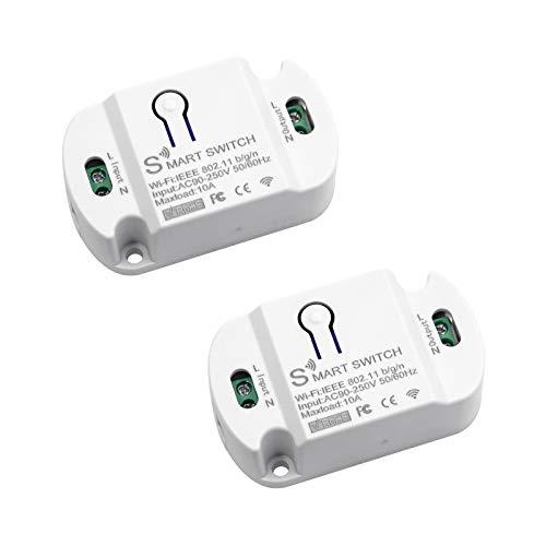 Interruptor Wifi Inteligente Aplicación Móvil Módulo de Temporizador de Control Remoto Control de Voz sin Hub Necesario 10A / 2200W Compatible con Tuya Alexa Google Home