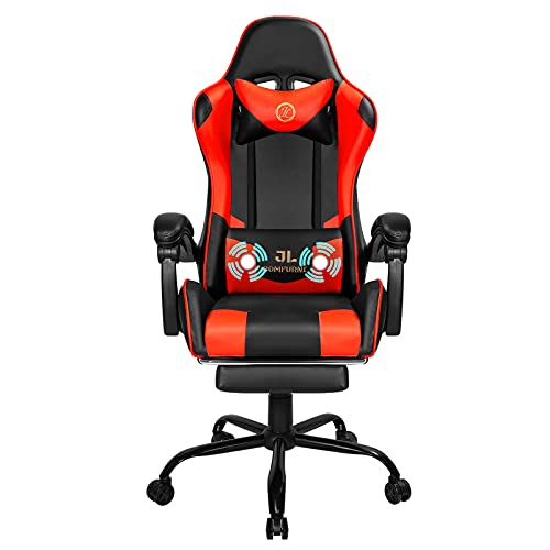 JL Comfurni Desk Chair Gaming Chair with Massage Executive Computer Chair Ergonomic Racing Chair with Padded Footrest Adjustable Swivel Chair Recliner with Constellation Lumber Headrest(Red)
