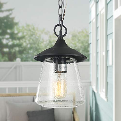 Black Hanging Porch Light, 1-Light Outdoor Chandelier with Clear Bubbled Glass Shade, Exterior Pendant Lighting for Gazebo, Patio