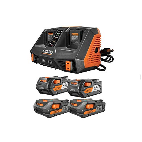 Ridgid 18-Volt Lithium-Ion Dual Port Sequential Charger Kit with (2) 4.0 Ah Batteries and (2) 2.0 Ah Batteries