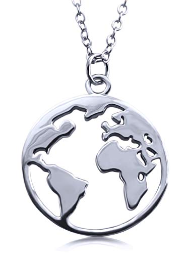 VIASOUL® Halskette Weltkugel I Weltkarte Für Damen aus 925er Silber I Mit 585er Gold überzogen I Die Original Welt Kette (Weißgold)