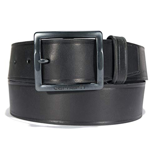 Carhartt Men's Standard, Casual Rugged Belts, Available in Multiple Styles, Colors & Sizes, Bridle Leather Heat Creased (Black), 34