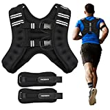 PACEARTH Weighted Vest with Ankle/Wrist Weights 12lbs Adjustable Body Weight Vest with Reflective Stripe Workout Equipment for Strength Training, Cardio, Walking, Jogging, Running for Men Women