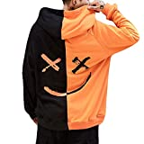 iYYVV Unisex Teens Colorblock Smiling Face Fashion Printed Sweatshirt Hoodie Pullover Orange