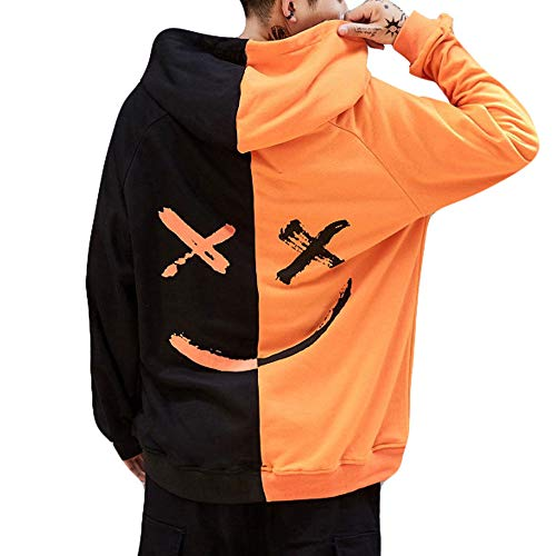 Overdose Sudadera Hombres Patchwork Slim Fit Hoodie