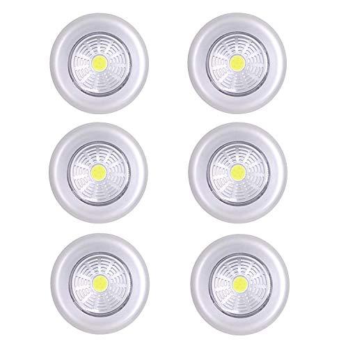 Luce Adesiva Led Batteria,Luce Armadio Led Batteria,Luce Adesiva per Armadio,Luce Adesiva Cucina,Luci Armadio Led,Luci Armadio Led a Batteria,6 Pezzi (Argento)