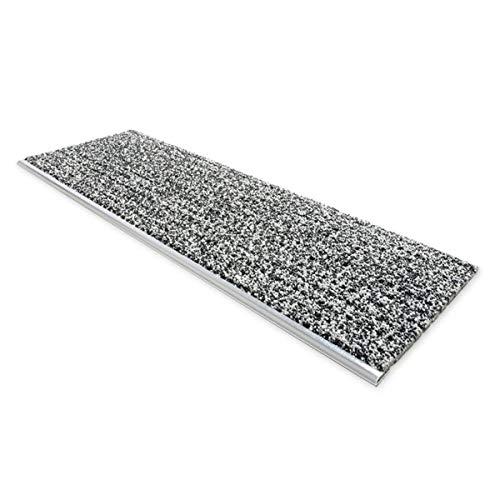 Floordirekt Sicherheits-Stufenauflage mit Alu-Schiene | Stufenmatte für Außen | Rutschhemmend bei Nässe und Glatteis | Für Außentreppen geeignet (24 x 60 cm, Anthrazit)