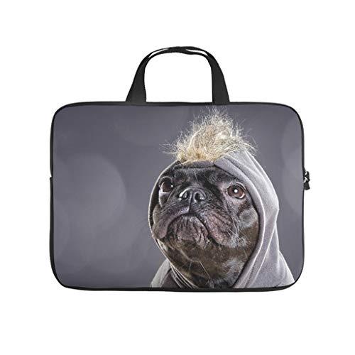 Maleta ligera para portátil Bulldog francés, con asa de transporte, para mascota, color blanco 15 Zoll