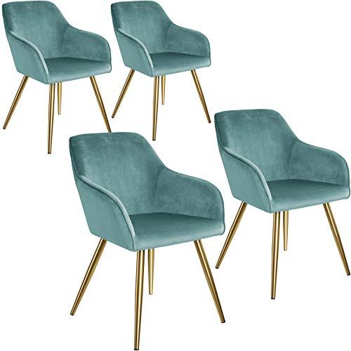 tectake 800862 4er Set Esszimmerstuhl mit Armlehnen, gepolstert, Sitzfläche aus Samt, goldene Metallbeine, für Wohnzimmer, Esszimmer, Küche und Büro (Türkis Gold   Nr. 404019)