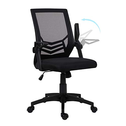 Hadwin Office Chair Black,Mid-Back Ergonomic Desk Chair with Flip Armrest Executive Computer Chair with Lumbar Support Home Office Swivel Mesh Chair with Tilt Function