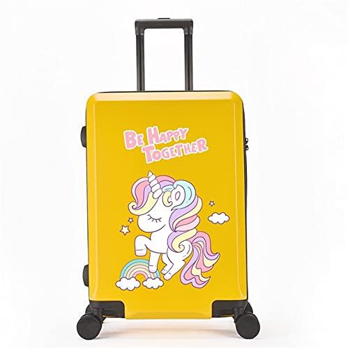 FGHHJ Equipaje pequeño de 20 Pulgadas, Maleta para niña, Equipaje de Viaje con 4 Ruedas, Carro de Carro con cáscara Dura Ligera,Yellow Happy Horse