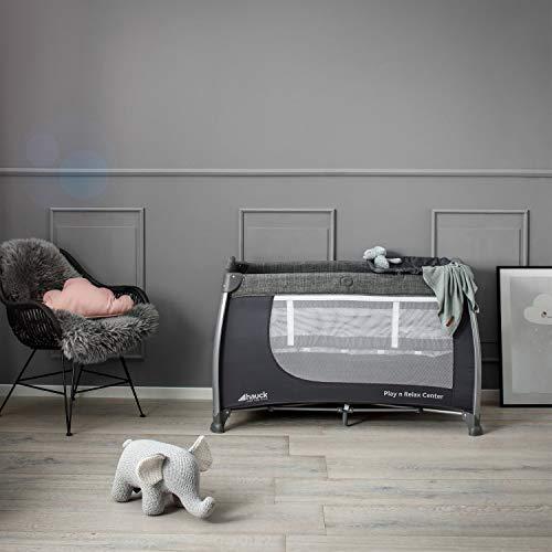 Hauck Play'n Relax Center Reisebett, 7-teiliges, ab Geburt bis 15 kg, faltbar und kippsicher, mit Neugeborenen Einhang, Wickelauflage, seitlicher Ausstieg, Netztasche, Räder, Transporttasche, grau - 21